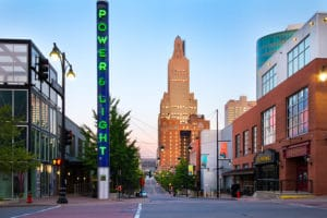View of Kansas City street in the Power & Light District