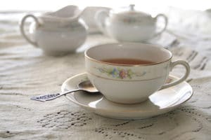 close-up of teacup setting at the Vaile Mansion